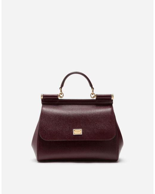 Dolce & Gabbana Purple Medium Sicily Handbag In Dauphine Leather