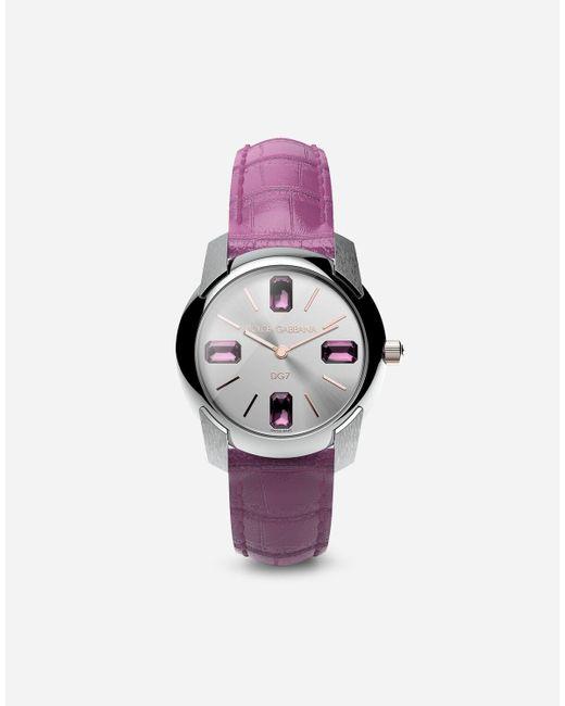 Dolce & Gabbana Pink Watch With Alligator Strap