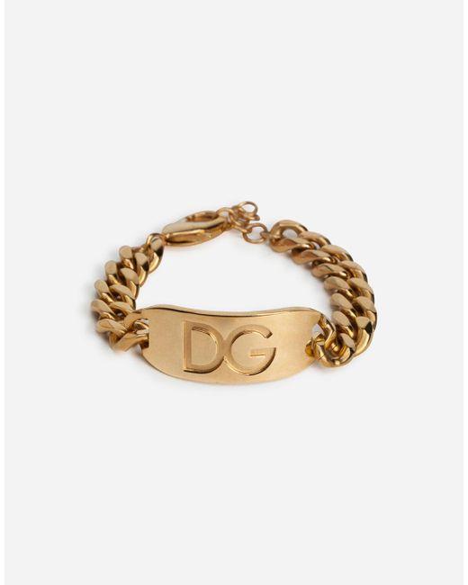 Dg Logo Bracelet Dolce & Gabbana pour homme en coloris Metallic