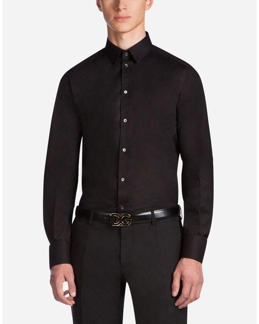 Dolce & Gabbana Black Shirt In Stretch Cotton Poplin for men