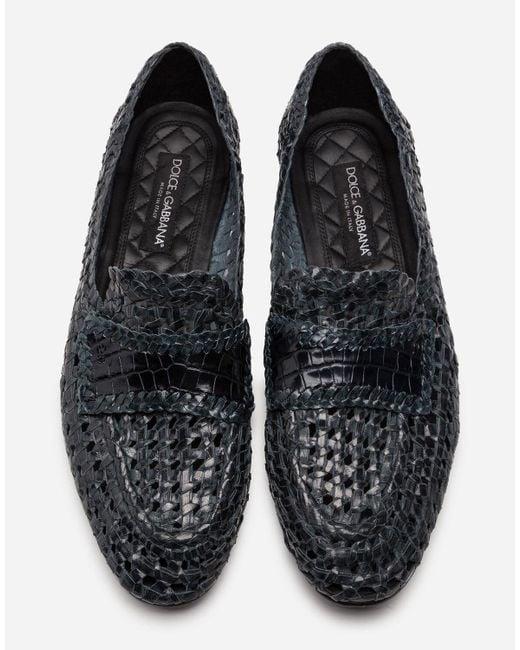 Dolce & Gabbana Blue Persia Woven Calfskin Slippers for men