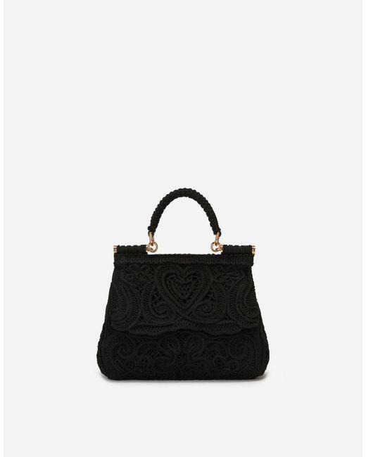 Dolce & Gabbana Black Small Cordonetto Lace Sicily Bag