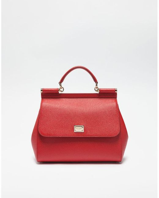 b1a5d99add Dolce   Gabbana Dauphine Leather Regular Sicily Bag in Red - Lyst
