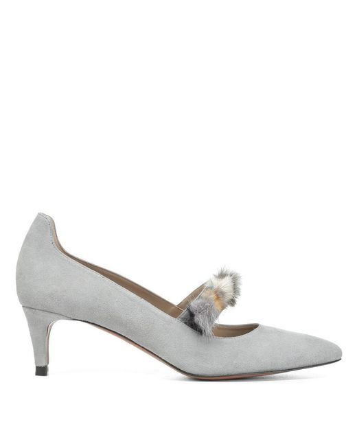 Donald J Pliner | Gray Kid Suede And Mink Pump | Lyst