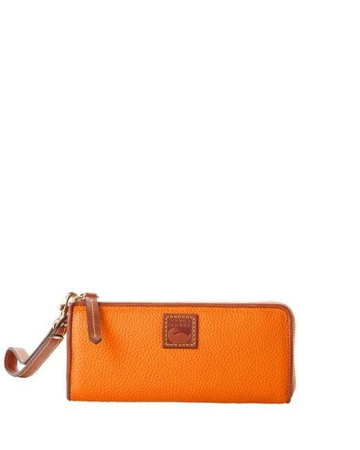 Dooney & Bourke Orange Pebble Grain Zip Clutch Wristlet
