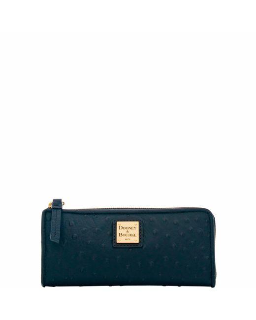 Dooney & Bourke Black Ostrich Zip Clutch