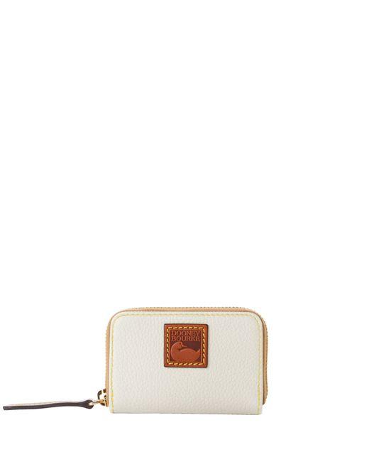 Dooney & Bourke White Pebble Grain Zip Around Credit Card Case
