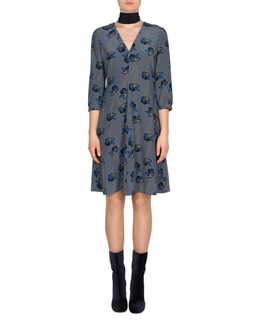 dorothee schumacher floral print dress in gray save 8 lyst. Black Bedroom Furniture Sets. Home Design Ideas