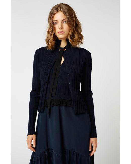 lyst dorothee schumacher flawless finesse cardigan in blue. Black Bedroom Furniture Sets. Home Design Ideas