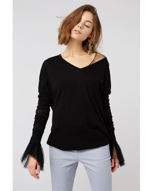 Dorothee Schumacher - Black Lace Embrace Pullover V-neck 1/1 - Lyst