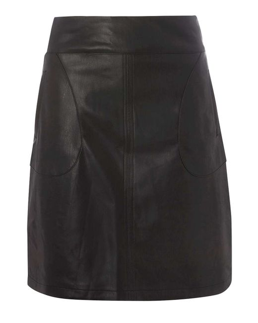 dorothy perkins black leather look a line skirt in