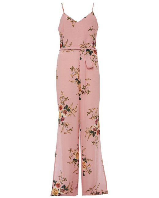 Dorothy Perkins - Quiz Pink Floral Print Jumpsuit - Lyst