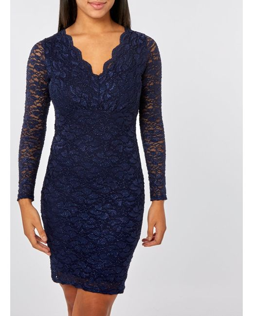 Womens Blue Navy Glitter Lace Bodycon Dress