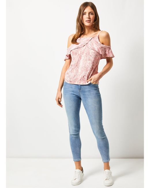 13745ada5be ... Dorothy Perkins - Pink Snake Print Frill Cold Shoulder Top - Lyst ...