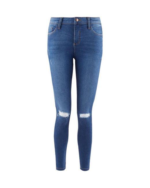 Dorothy Perkins - Blue Indigo 'darcy' Knee Ripped Skinny Ankle Grazer Jeans - Lyst