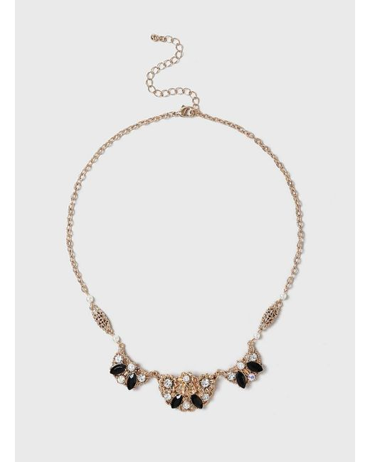 Dorothy Perkins | Metallic Filigree And Dark Necklace | Lyst