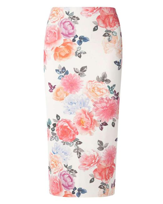 Dorothy Perkins | White Tall Pink Floral Pencil Skirt | Lyst