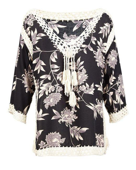 Dorothy Perkins Black Floral Crochet Top