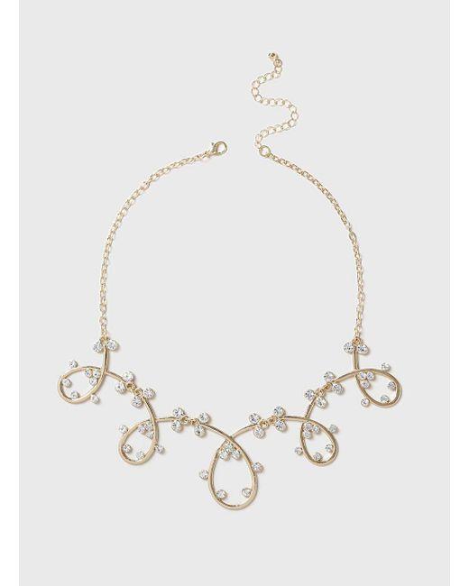 Dorothy Perkins | Metallic Rhinestone Swirl Necklace | Lyst