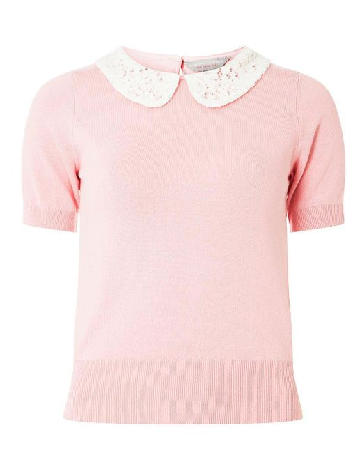 Dorothy Perkins - Petite Pink Knitted Top - Lyst