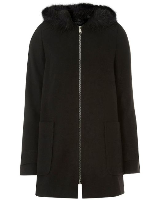 Dorothy Perkins - Tall Black Faux Fur Hooded Duffle Coat - Lyst