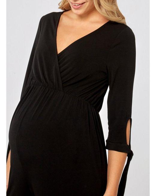 3f811ca6e2dd ... Dorothy Perkins - Maternity Black Tie Sleeve Jumpsuit - Lyst ...
