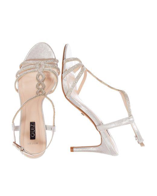 f8fe04dc2 ... Quiz - Metallic Wide Fit Silver Shimmer Loop Sandals - Lyst ...