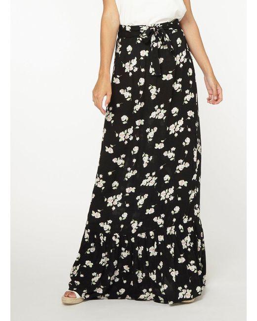 5b472132d3d ... Dorothy Perkins - Tall Black Floral Ditsy Print Tiered Maxi Skirt -  Lyst ...