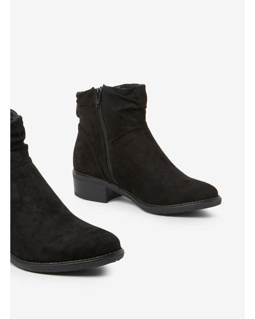 c62545917db Women's Black Microfibre Monaco Ruched Ankle Boots