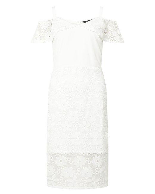 Dorothy Perkins - White Lace Mix Bardot Pencil Dress - Lyst