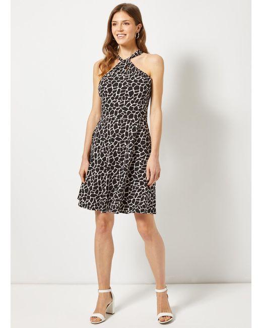 0734b56704 ... Dorothy Perkins - Black Giraffe Print Twist Neck Fit And Flare Dress -  Lyst ...