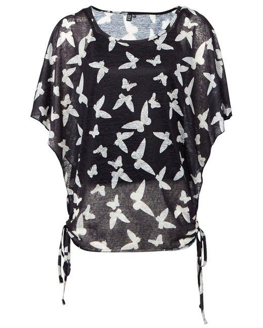 Dorothy Perkins Black Izabel London Multi Colour Butterfly Tie Back Top