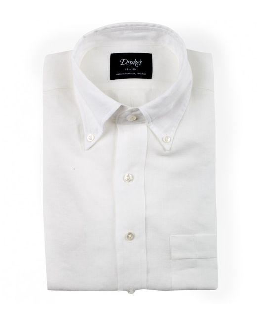 Drake 39 s irish white linen shirt with button down collar in for Irish linen dress shirts
