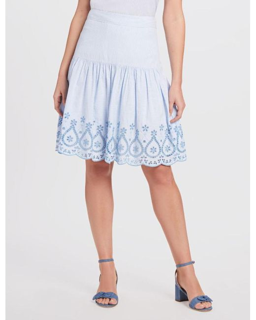 Draper James Blue Embroidered Scallop Hem Skirt*