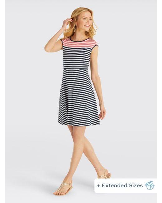 5a30d926ba Draper James - Blue Stripe Ponte A-line Dress - Lyst ...