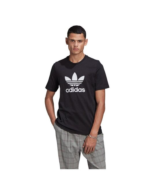 Adidas Originals Black Adicolor Trefoil Short Sleeve T-shirt for men