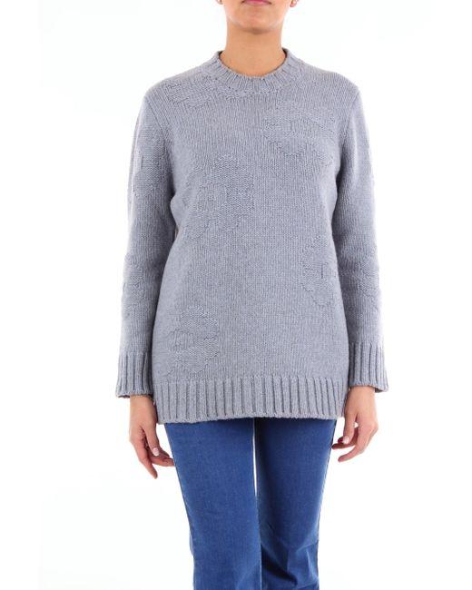 Jersey de dos tonos con cuello redondo Sara Lanzi de color Blue