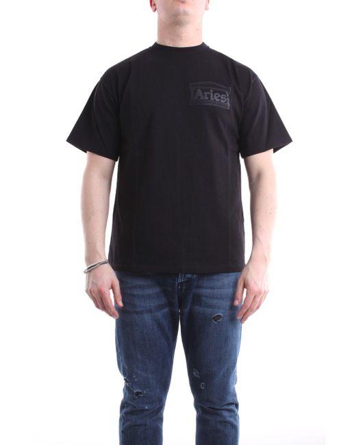 T-shirt con maniche corte di colore nero di Aries in Black da Uomo