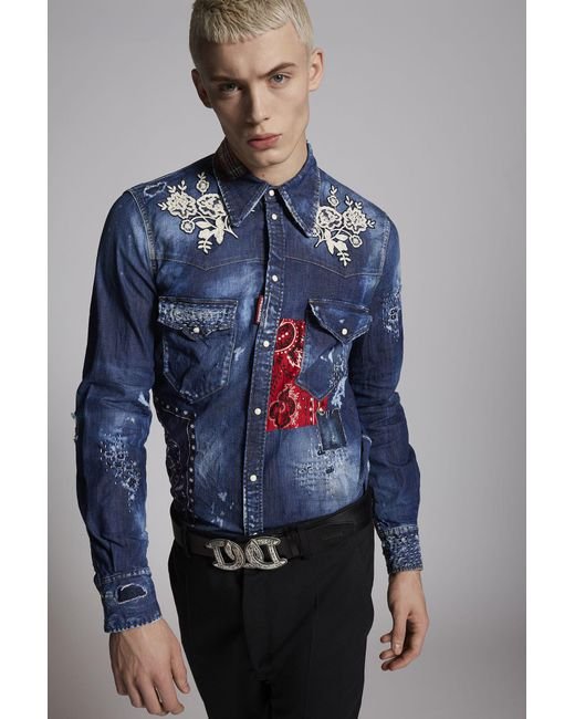 6a61badf9d1 ... DSquared² - Blue Fashion Western Denim Shirt for Men - Lyst ...
