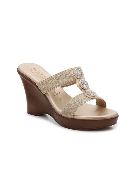 Italian Shoemakers Metallic Melony Wedge Sandal