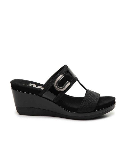 a12453185716 ... Anne Klein - Black Sport Pax Wedge Sandal - Lyst ...
