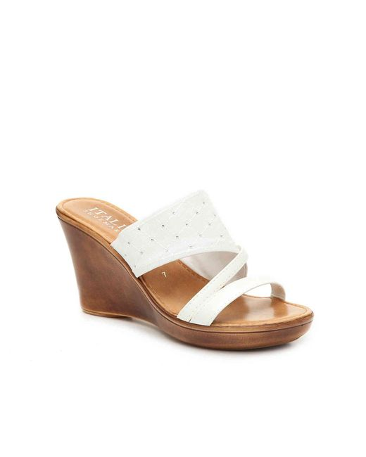 Italian Shoemakers White Tiia Wedge Sandal