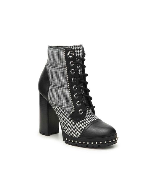 ALDO - Black Marille Menswear Inspired Plaid Houndstooth Block Heel Lace Up Booties - Lyst