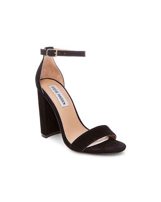 Steve Madden Black Carrson Suede Chunky-Heel Sandals