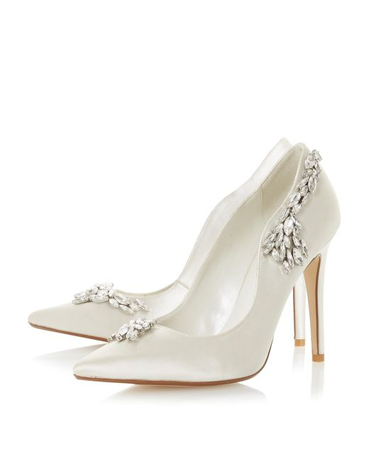 Dune White Bestowed Jewelled Stiletto Heeled Court Shoes
