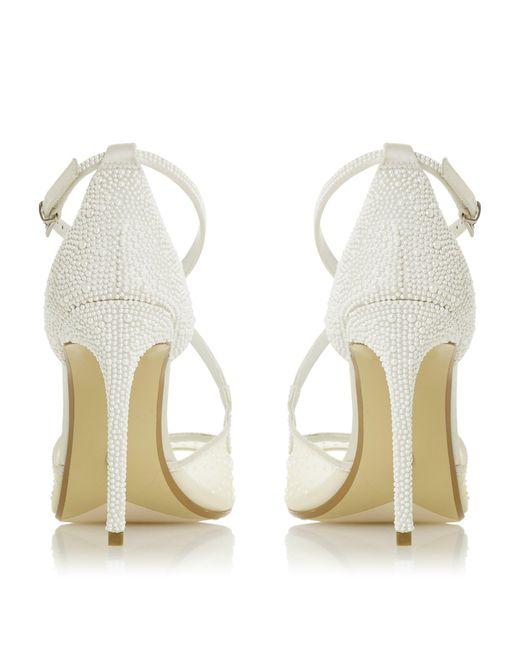 Dune Satin Markles Pearl Embellished High Heel Bridal Shoe In