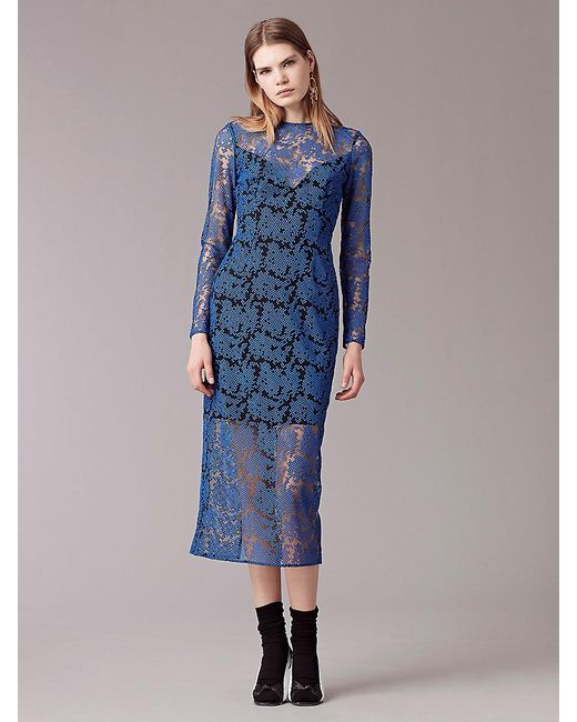 Diane von Furstenberg | Blue Long Sleeve Tailored Midi Dress | Lyst