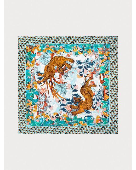Diane von Furstenberg Blue Jella Silk Square Scarf