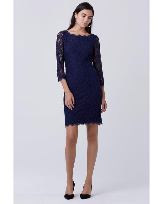 Diane von Furstenberg   Blue Zarita Long Lace Dress   Lyst