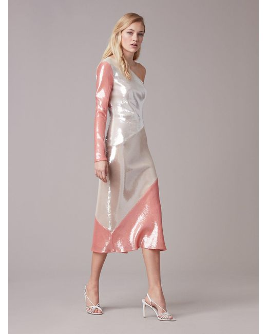 Diane von Furstenberg - Pink One-shoulder Sequin Bias Dress - Lyst